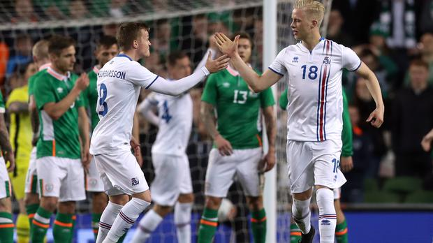 Hordur Magnusson, right, won the game for Iceland
