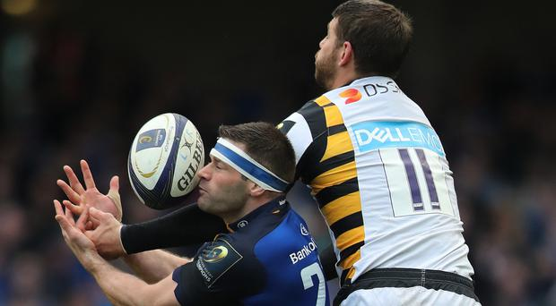 Willie Le Roux, pictured right, lost control of the ball as he dived over the try-line
