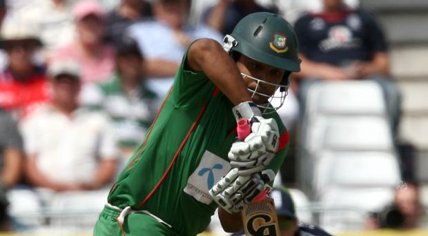 Tamim Iqbal made an unbeaten 50 before the rain arrived in Dublin