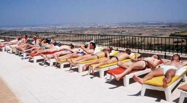 What an image....Jack Charlton's Italian'90 boys soaking up the sun during their World Cup adventure