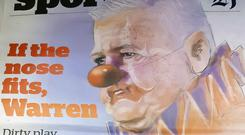 Warren Gatland has been depicted as a clown in the New Zealand press