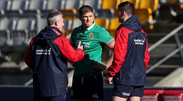 Owen Farrell, centre, and Jonny Sexton, right, will both start in the Lions' second Test against New Zealand