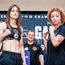 Katie Taylor, left, and Jasmine Clarkson during the official weigh-in ahead of their lightweight bout in New York tonight Photo: Sportsfile