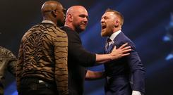 Conor McGregor, right, is in confident mood
