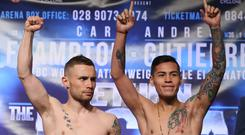 Carl Frampton, left, saw his homecoming bout against Andres Gutierrez, right, scrapped last month