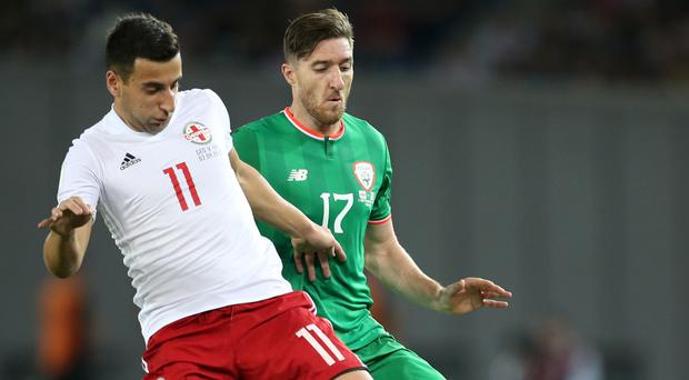 Stephen Ward, right, knows the importance of the Republic's game against Serbia
