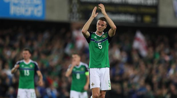 Jonny Evans scored his first international goal in eight years on Monday night