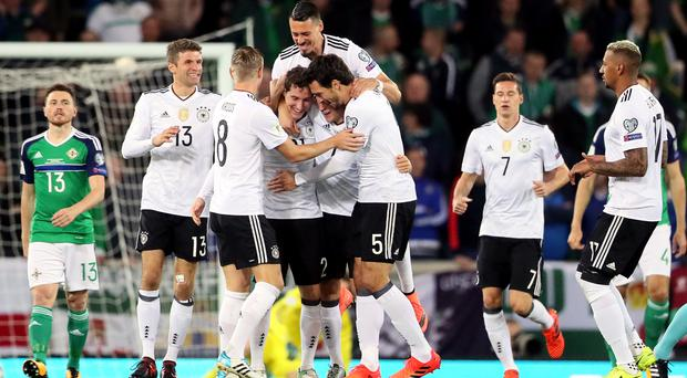Germany's Sebastian Rudy (fourth from left) celebrates scoring his side's first goal