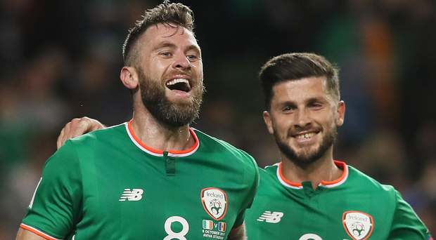 Daryl Murphy, left, was the Republic of Ireland's match-winner against Moldova. Photo: PA