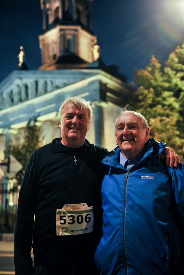 Flynn with fomer coach Brother John Dooley outside St Mel's Cathedral after last week's paced mile in Longford organised by Athletics Ireland and Longford Marathon. Photos: Tomas Greally