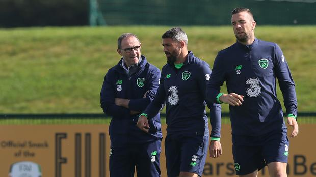 Jon Walters, centre, has not been ruled out of the Republic of Ireland's World Cup play-off next month, despite a knee injury