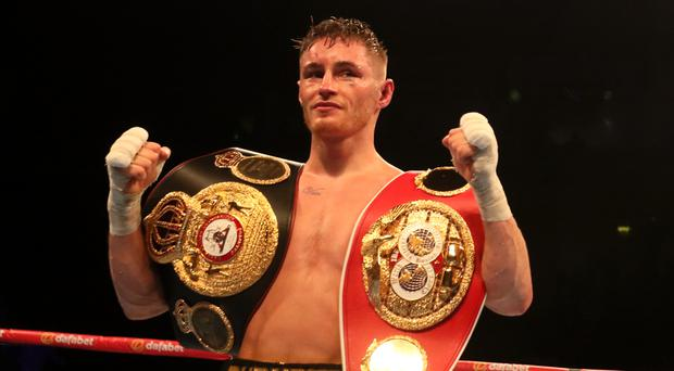 Ryan Burnett celebrates after winning his IBF & WBA Super World Bantamweight Championship bout with Zhanat Zhakiyanov in Belfast last Saturday. Photo: Sportsfile