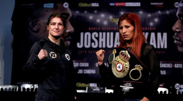 Katie Taylor, left, faces Anahi Sanchez in Cardiff this weekend
