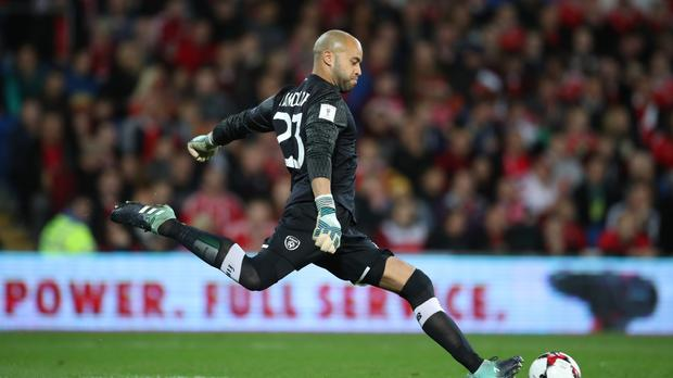 Republic of Ireland keeper Darren Randolph (pictured) repeatedly denied Denmark on Saturday evening