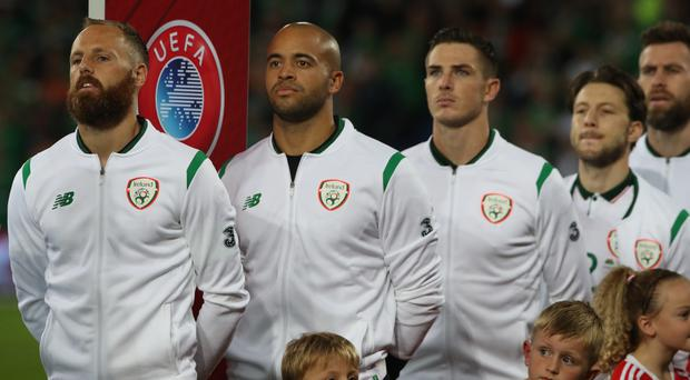 Republic of Ireland keeper Darren Randolph, second left, pulled off a string of fine saves in the World Cup play-off first leg against Denmark