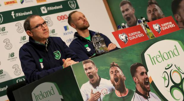 Republic of Ireland manager Martin O'Neill, left, and David Meyler are confident ahead of the second leg against Denmark