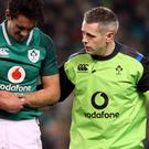 Joey Carbery, left, sustained a fractured wrist during Saturday's 23-20 win over Fiji