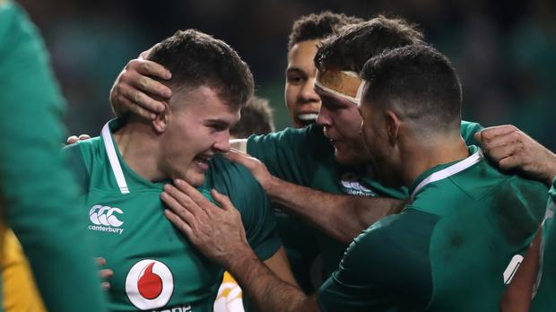 Ireland's Jacob Stockdale is congratulated by team-mates after scoring against Argentina