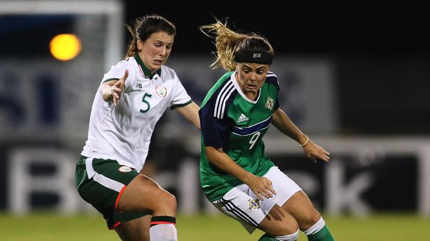 Northern Ireland's Julie Nelson, right, scored against Slovakia