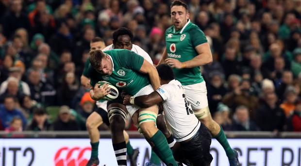 Ireland international Jordi Murphy, centre, is to join up with Ulster next season