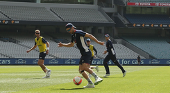 England players at the MCG yesterday ahead of the fourth Ashes Test Photo: Getty