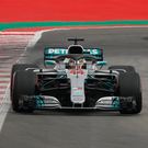Lewis Hamilton on his way to securing pole position for today's Spanish Grand Prix