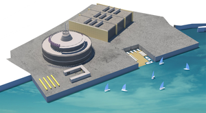 An impression by Kota Architects of Irish Sailing's new mobile performance headquarters and new launch pontoon beside the Commissioners of Irish Lights building in Dún Laoghaire