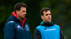 Johann van Graan (right) in conversation this week with Pieter Kruger – a performance psychologist who has worked with the Springboks, Brumbies, Harlequins, as well as Chelsea and Arsenal. The Munster boss is reluctant to dwell on officiating errors in last weekend's loss to Glasgow. Photo: Diarmuid Greene/Sportsfile