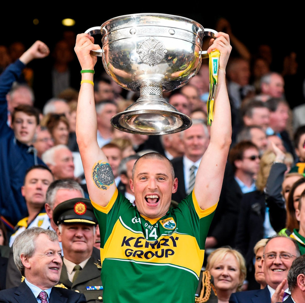 Kieran Donaghy lifts the Sam Maguire Cup in 2014. Photo: Sportsfile