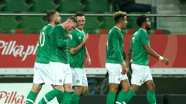 Aiden O'Brien (second left) celebrates scoring his first senior Republic of Ireland goal (Steven Paston/PA)