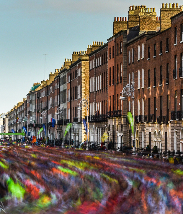 Dublin Marathon runners in Fitzwilliam Square. Photo: Ramsey Cardy