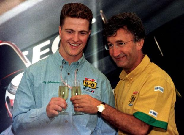Eddie Jordan with Ralf Schumacher who was bought out of his contract with Jordan by Williams. Photo: Reuters