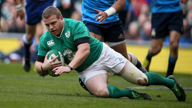 Ireland's Sean Cronin scores a try in the 206 Six Nations (Niall Carson/PA)