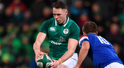 Sean French, in action against France on Friday, says there won't be any celebrations yet for the Ireland U-20s, who want to finish the campaign with a Grand Slam. Photo: Sportsfile