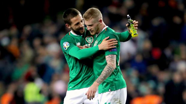 Republic of Ireland midfielder Conor Hourihane (left) scored the only goal against Georgia (Niall Carson/PA)