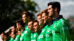 George Dockrell and his Ireland team-mates during the national anthem before yesterday's match against West Indies in Malahide. Photo: Seb Daly/Sportsfile