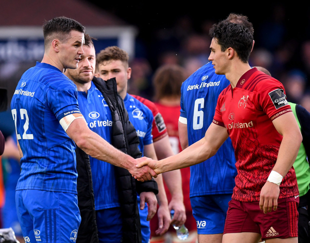Johnny Sexton and Joey Carbery shake hands after Saturday's PRO14 semi-final between Leinster and Munster at the RDS. Photo: Sportsfile