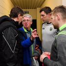 Noel O'Connell with Kerry selector Maurice Fitzgerald, midfielder David Moran and Peter Crowley in the tunnel at Austin Stack Park back in February. Photo: Sportsfile