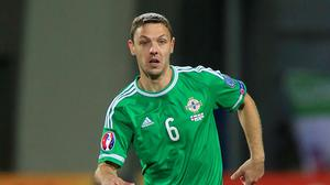 Chris Baird was sent off in the Euro 2016 qualifier against Hungary