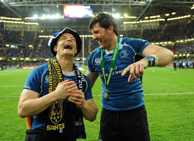 Brian O'Driscoll and Shane Horgan enjoy the moment after Leinster's victory over Northamption Saints in 2011