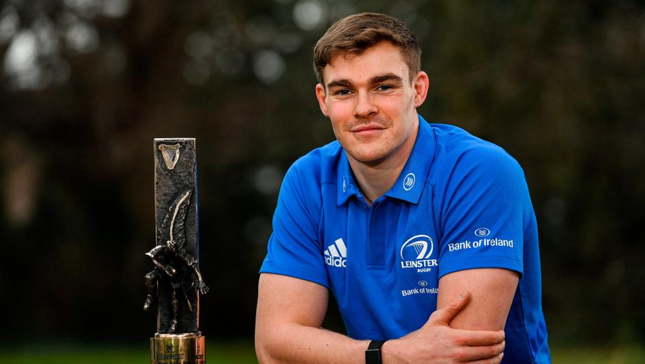 Garry Ringrose with his Guinness Rugby Writers of Ireland Men's Player of the Year award for 2020. Photo: Sportsfile