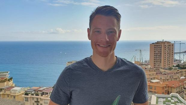Sam Bennett with his Irish Independent Sportstar of the Year award at his home in Monaco.