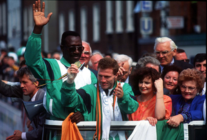 Michael Carruth on his homecoming in 1992 after winning gold at the Barcelona Olympics