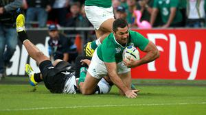 Rob Kearney goes over for his try in Ireland's comfortable win