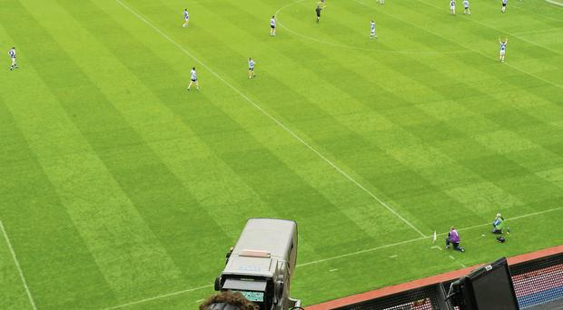 A general view of a television camera recording the action in a GAA game at Croke Park, Dublin.