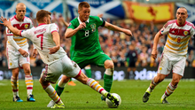 James McCarthy takes the fight to Scotland last weekend. McCarthy is by far the classiest footballer we have and should be made captain after this campaign DAVID MAHER / SPORTSFILE