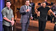 Rory Mcllroy and Tiger Woods on 'The Tonight Show Starring Jimmy Fallon' at Rockefeller Centre in New York City. Photo: Getty