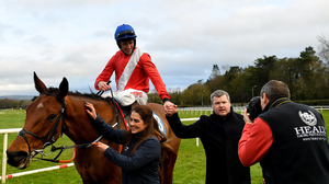 Jockey Davy Russell is pictured wih trainer Gordon Elliott after riding Envoi Allen to victory at Naas back in January 2020. Photo by Seb Daly/Sportsfile