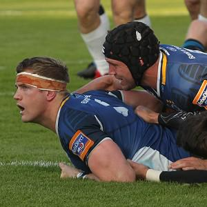 Leinster's Jamie Heaslip scores a try during the RaboDirect PRO12 semi-final