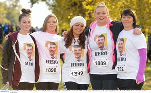 The 2013 Remembrance Run: from left, Hazel Kelly, Adrienne O'Reilly, Natalie Fox, Donna O'Reilly and Amanda Smith.